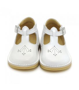 Start Rite Mini Lottie - White Leather Buckle Shoes